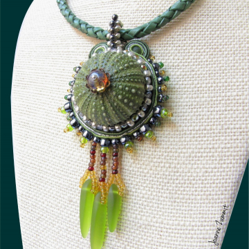 Sea Urchin Necklace with Seaglass Fringe