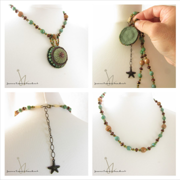 Sea Urchin Necklace on Removable Beaded Chain
