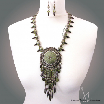 Sea Urchin Necklace with Beaded Fringe